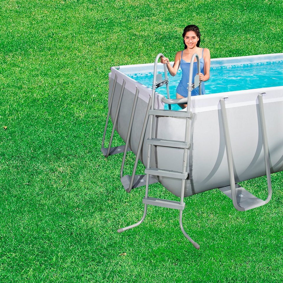 """Bestway Set: »Frame Pool """"Power Steel"""" Set, rechteckig mit Filterpumpe + Zubehör 488x274x122 cm« in grau"""