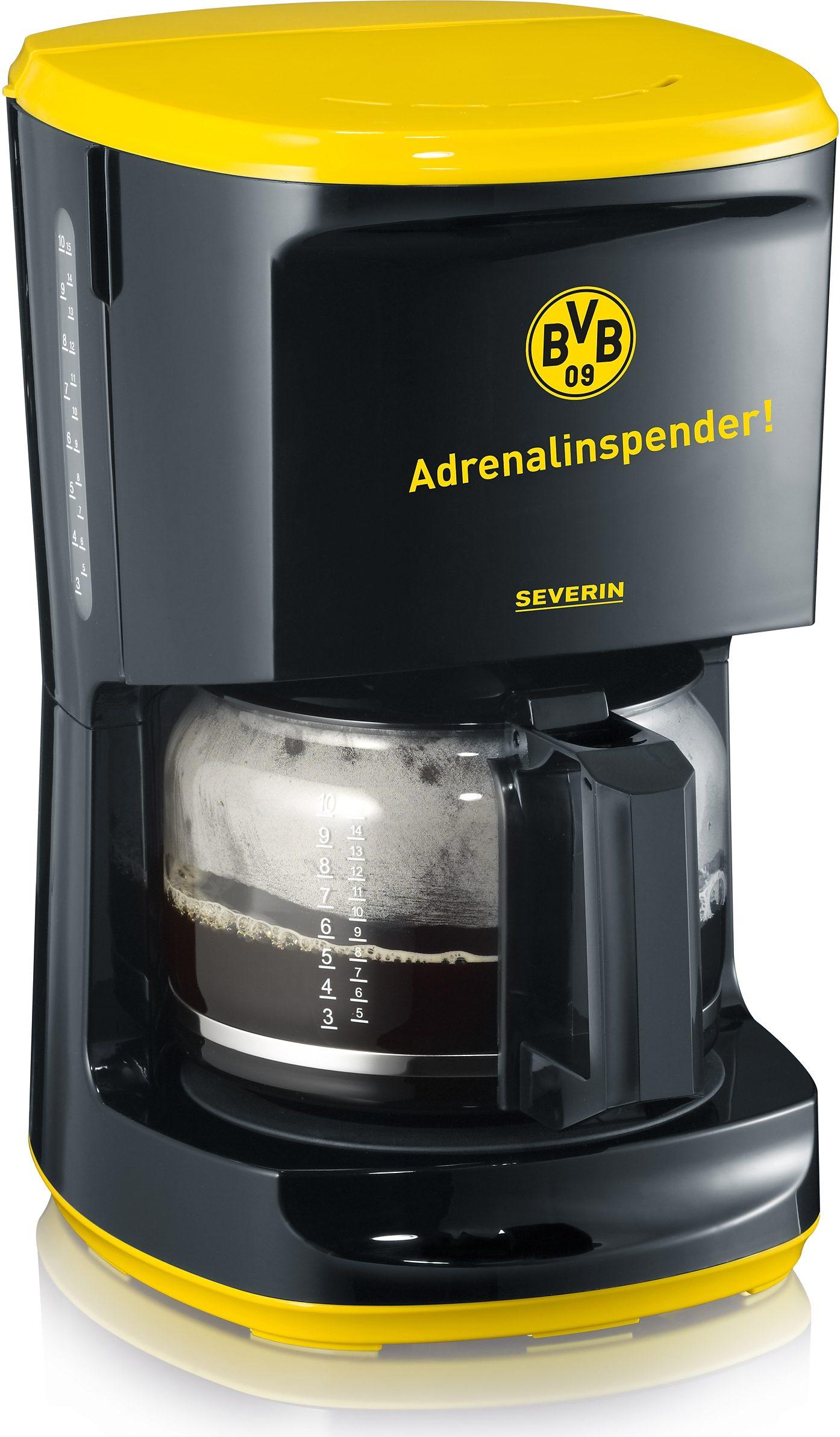 Severin Filterkaffeemaschine KA 9743, 1,4l Kaffeekanne, Papierfilter 1x4, echter Borussia Dortmund Fanartikel
