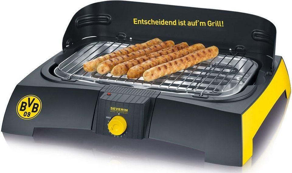Severin Borussia Dortmund Fanartikel, Barbecue-Grill PG 9739, 2300 Watt in Schwarz-gelb