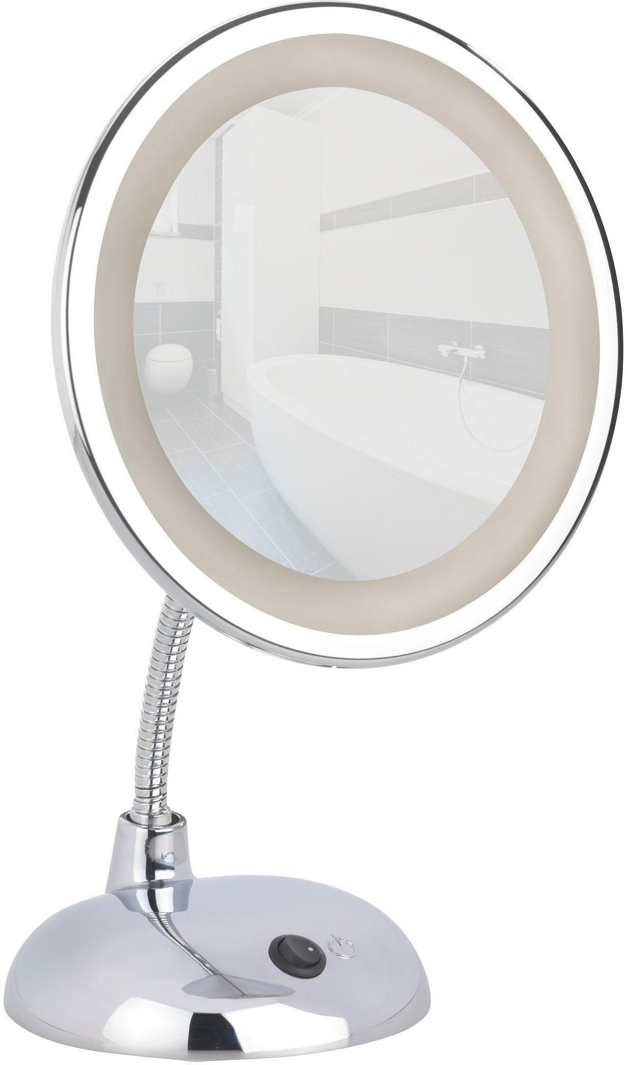 WENKO LED Kosmetikspiegel »Style«, Chrom, Standspiegel, 3-fach Vergrößerung
