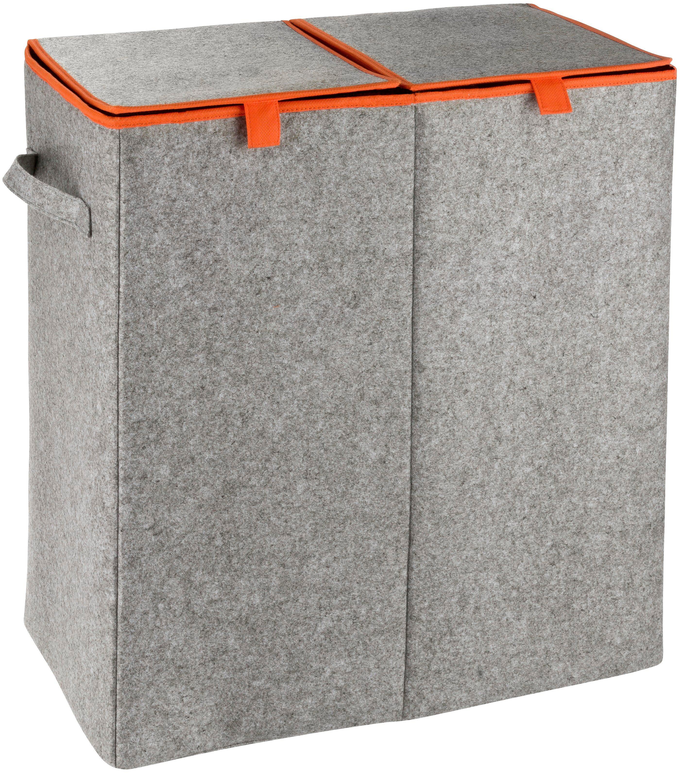 WENKO Wäschesammler »Duo Filz«, Orange, Wäschekorb, 2 Kammern, 82 l