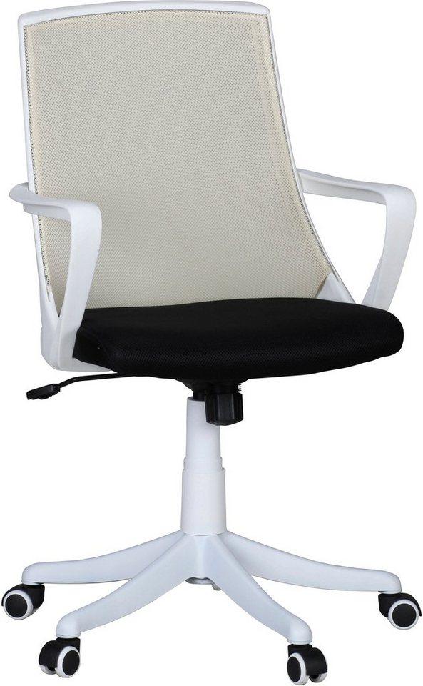 Amstyle Bürostuhl »Fabio Deluxe« in beige-weiß
