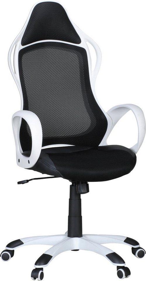Amstyle Chefsessel »MAKAR« in weiß-schwarz