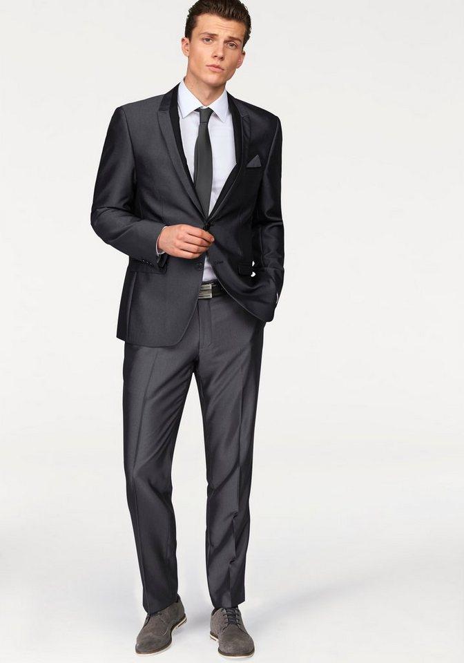 Bruno Banani Anzug mit modischen Kontrastbesätzen in anthrazit