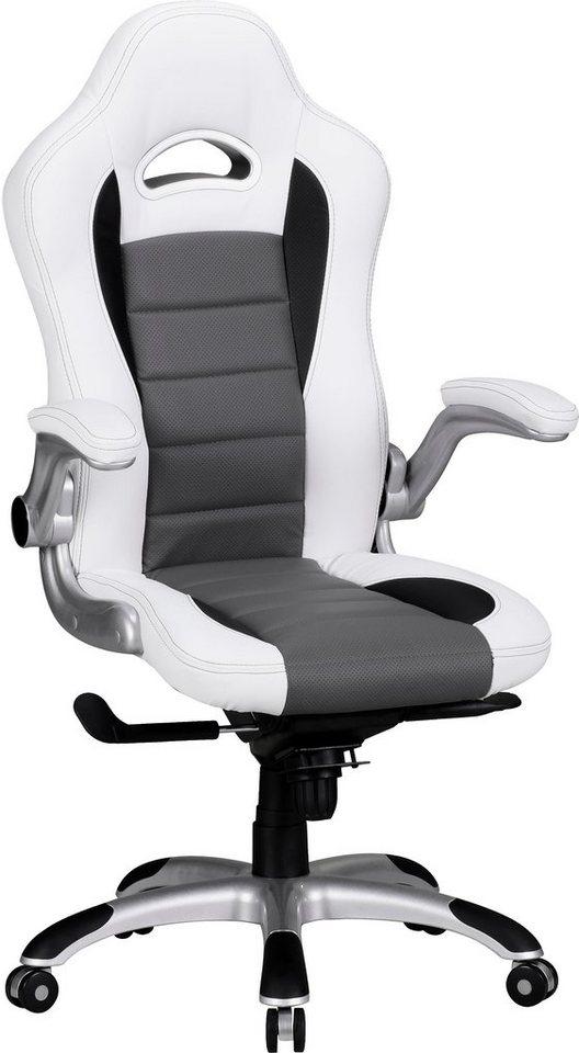 Amstyle Chefsessel »Racing« in weiß-schwarz