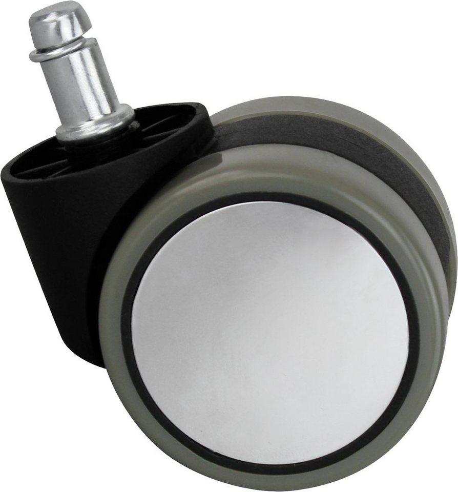 Amstyle Hartbodenrollen »Silver«, 6 cm in silber-grau