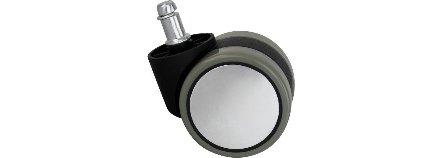 Amstyle Hartbodenrollen »Silver«, 6 cm