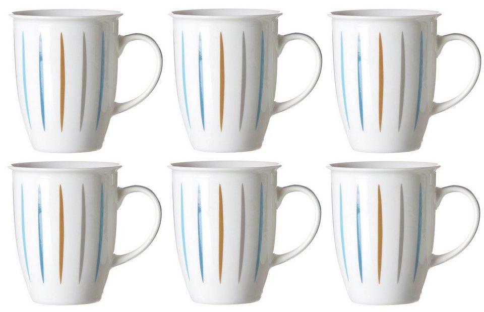 Flirt by R&B Kaffeebecher-Set hellblau, Porzellan, »Doppio Lino« in weiß/farbiges Liniendekor