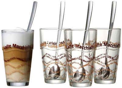 Ritzenhoff & Breker Latte-Macchiato-Glas, Glas, 4 Gläser, 4 Longdrinklöffel