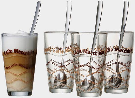 Latte-Macchiato-Glas, Glas, 4 Gläser, 4 Longdrinklöffel