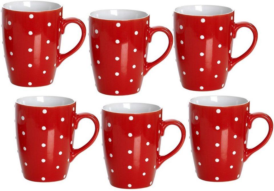 Flirt by R&B Kaffeebecher-Set Porzellan, »Pinto« in rot/weiß