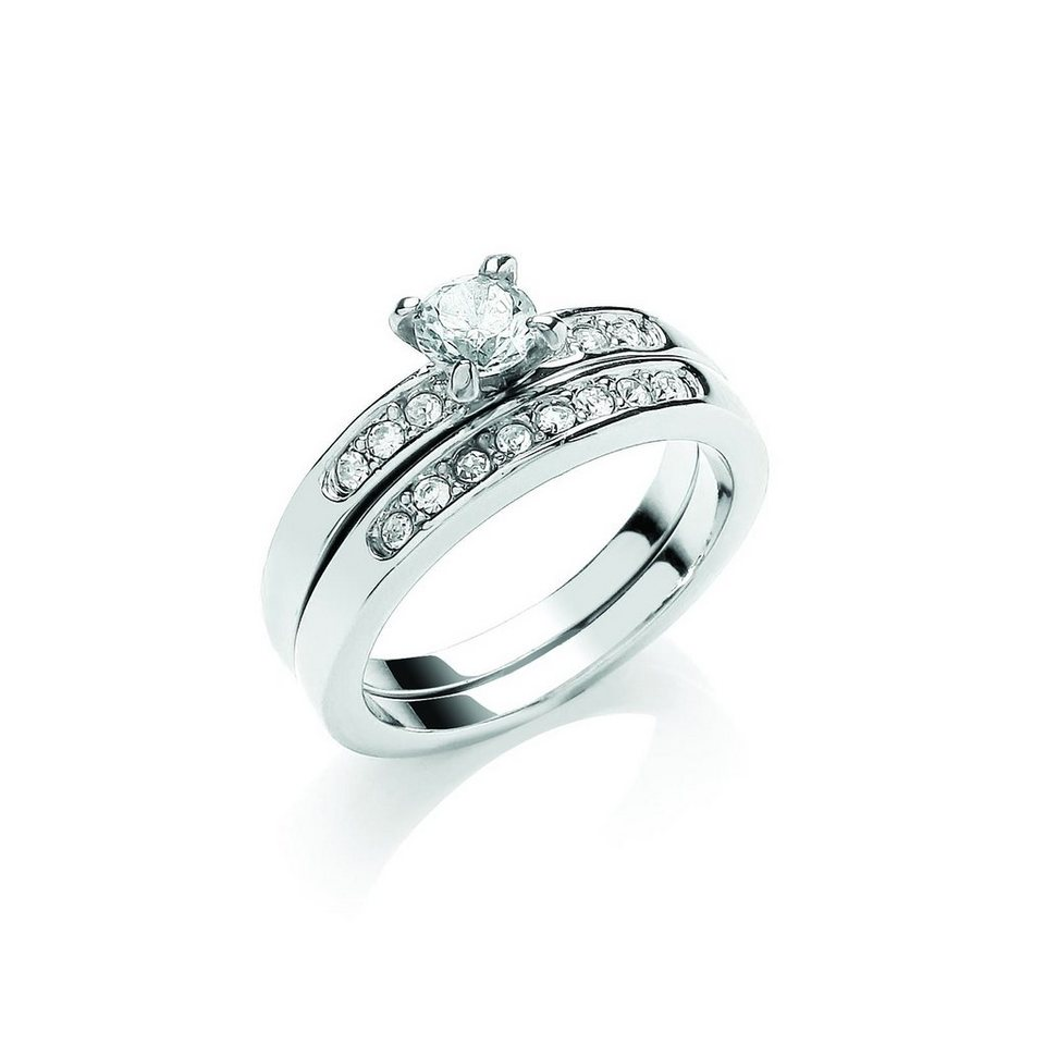 Buckley London Ring »rhodiniert mit Kristallen« in weiß
