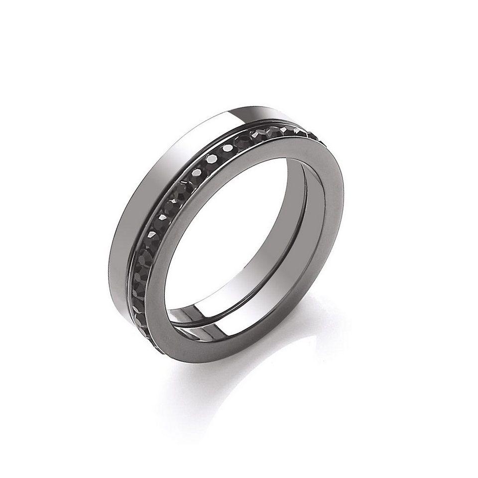 Buckley London Ring »schwarz rhodiniert mit Kristallen« in schwarz
