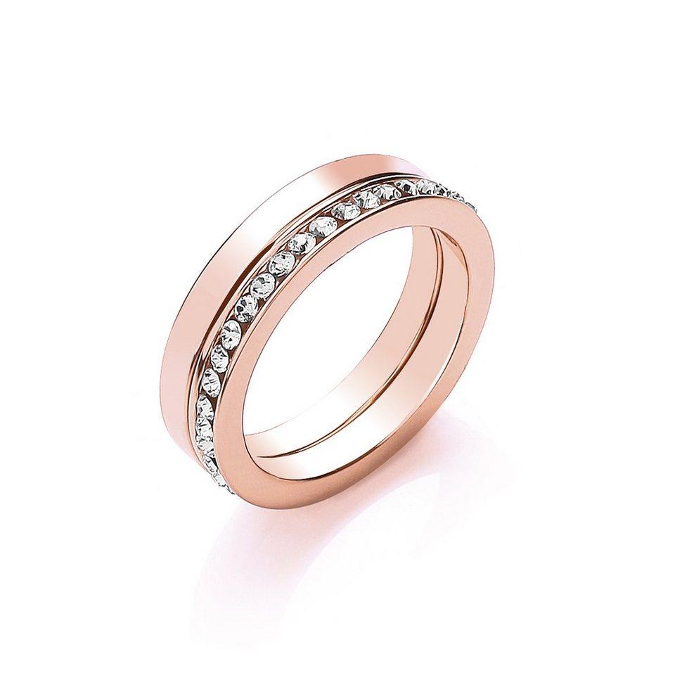 Buckley London Ring »roséfarben mit Kristallen« in rot