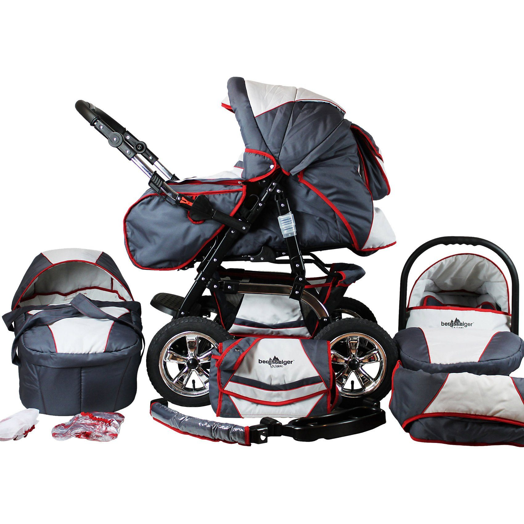 Bergsteiger Kombi Kinderwagen Milano, 10 tlg., grey & red stripes