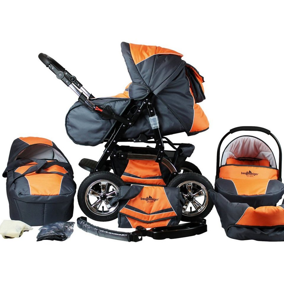 Bergsteiger Kombi Kinderwagen Milano, 10 tlg., orange & grey in grau/orange