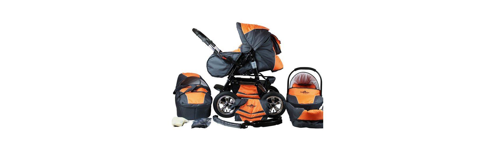 Bergsteiger Kombi Kinderwagen Milano, 10 tlg., orange & grey
