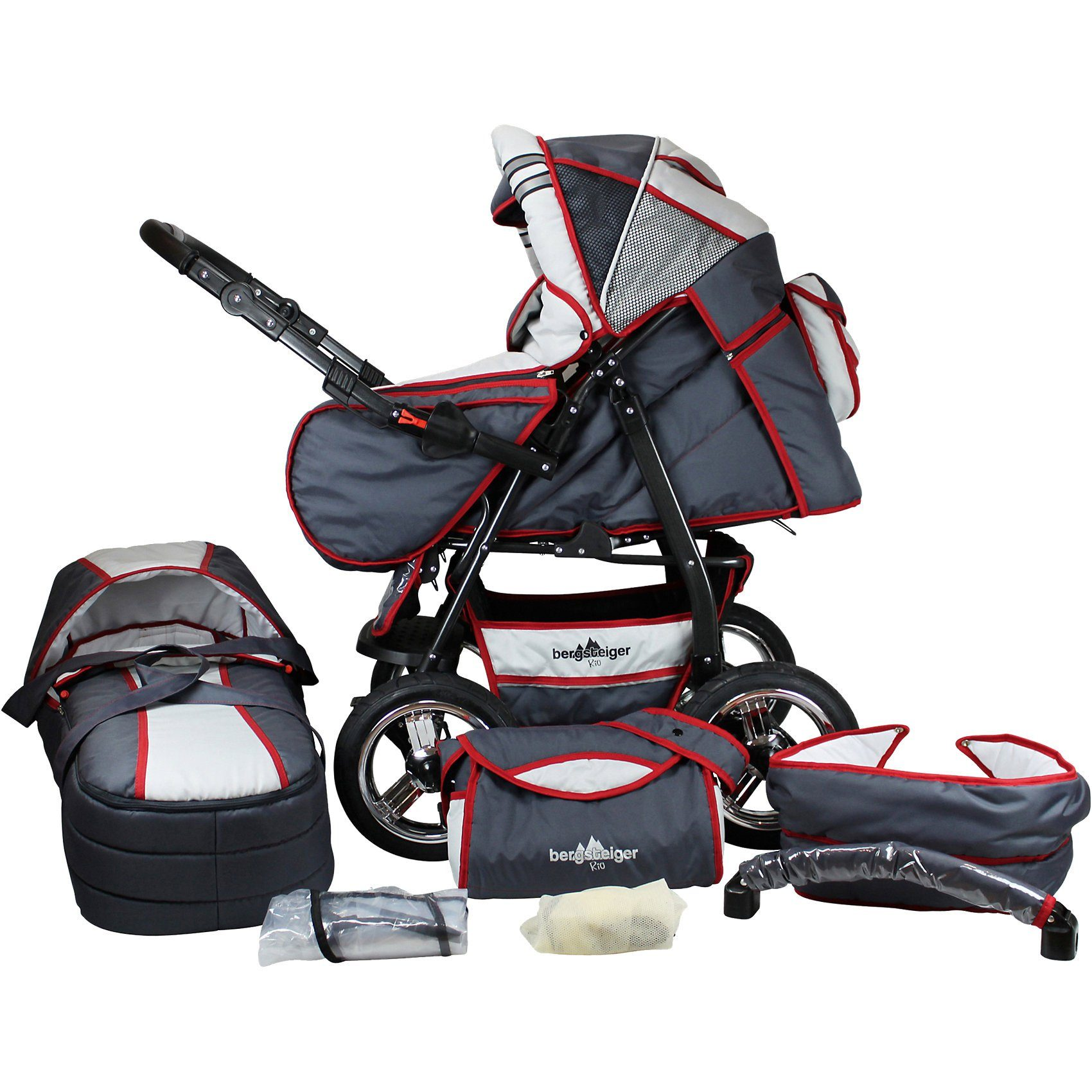 Bergsteiger Kombi Kinderwagen Rio, 10 tlg., grey & red stripes