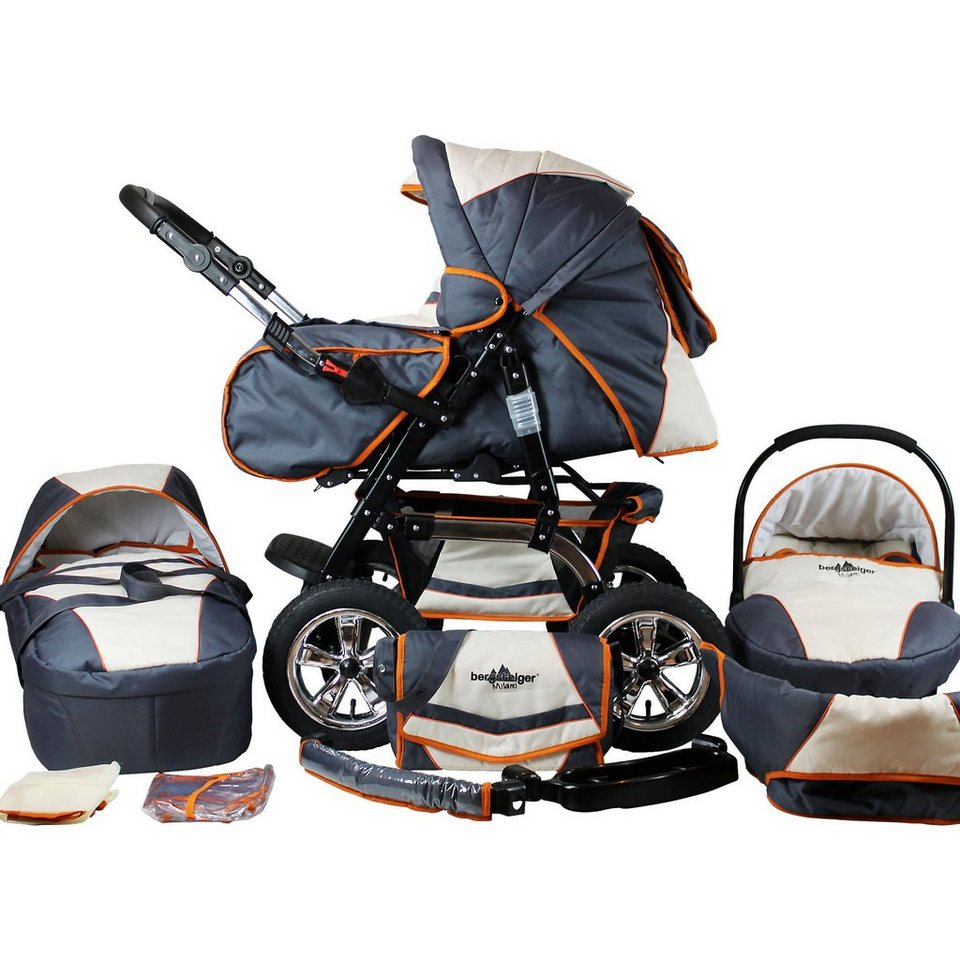 Bergsteiger Kombi Kinderwagen Milano, 10 tlg., beige & grey in beige/orange