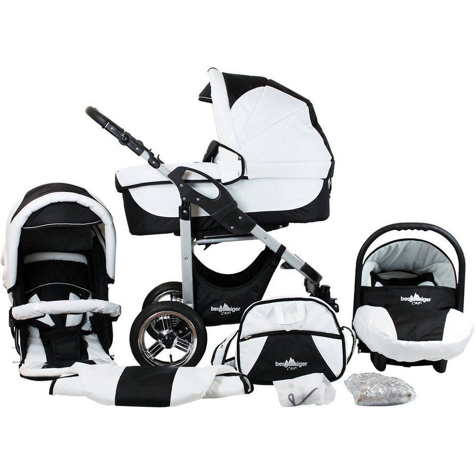 Bergsteiger Kombi Kinderwagen Capri, 10 tlg., black & white in weiß/schwarz