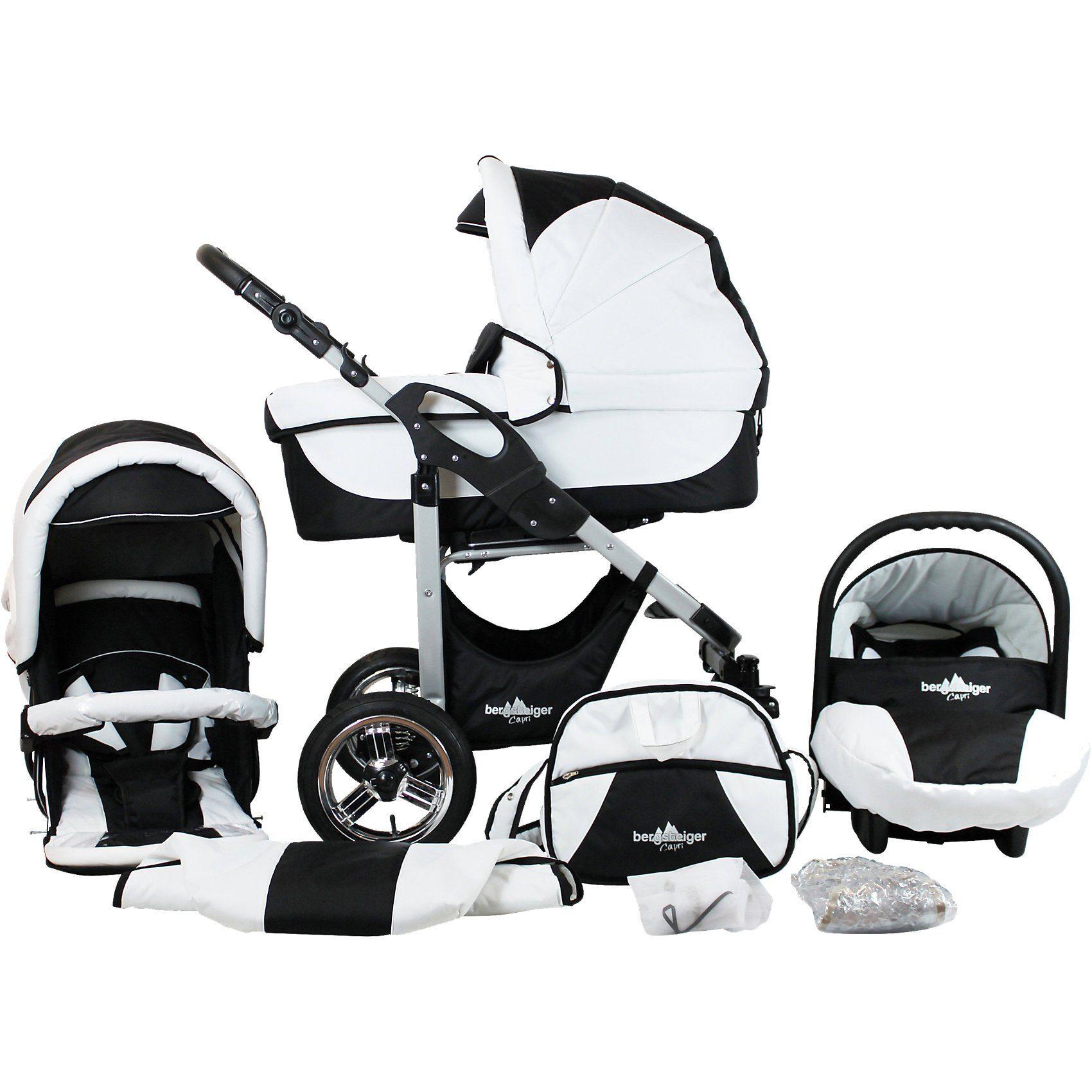 Bergsteiger Kombi Kinderwagen Capri, 10 tlg., black & white