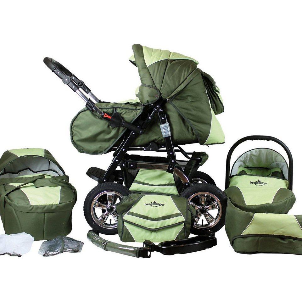 Bergsteiger Kombi Kinderwagen Milano, 10 tlg., dark green in grün