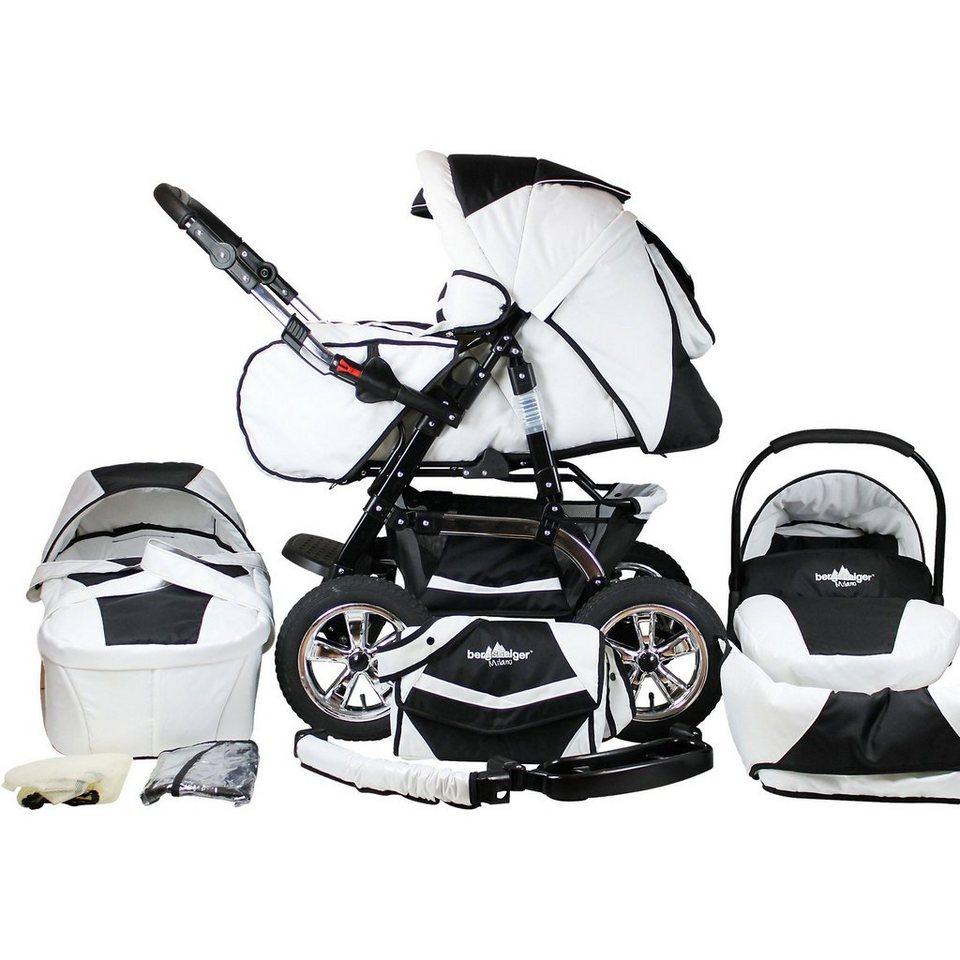 Bergsteiger Kombi Kinderwagen Milano, 10 tlg., black & white in weiß/schwarz