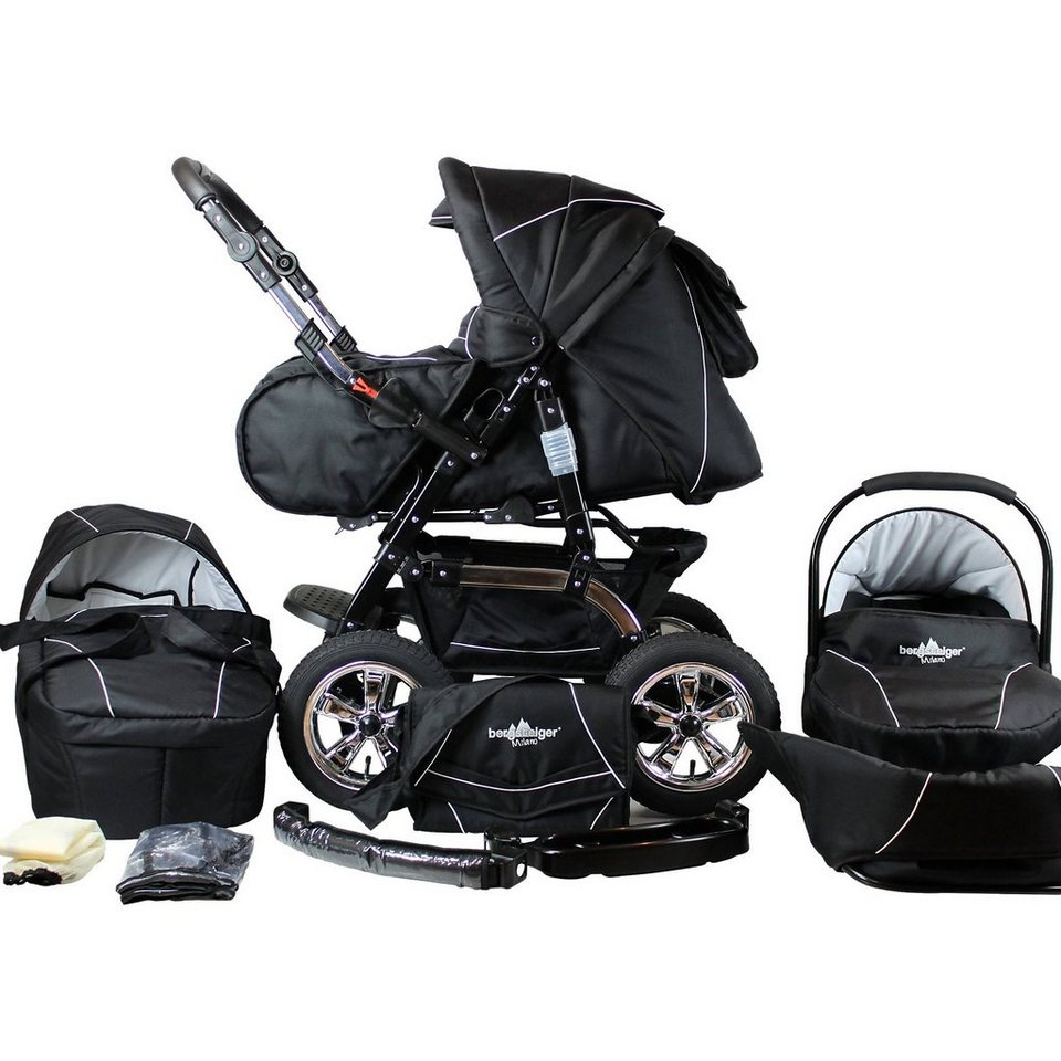 bergsteiger kombi kinderwagen milano 10 tlg black. Black Bedroom Furniture Sets. Home Design Ideas