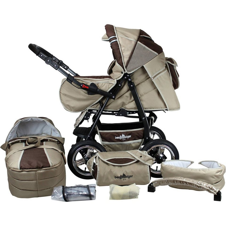 Bergsteiger Kombi Kinderwagen Rio, 10 tlg., coffee & brown in braun/beige
