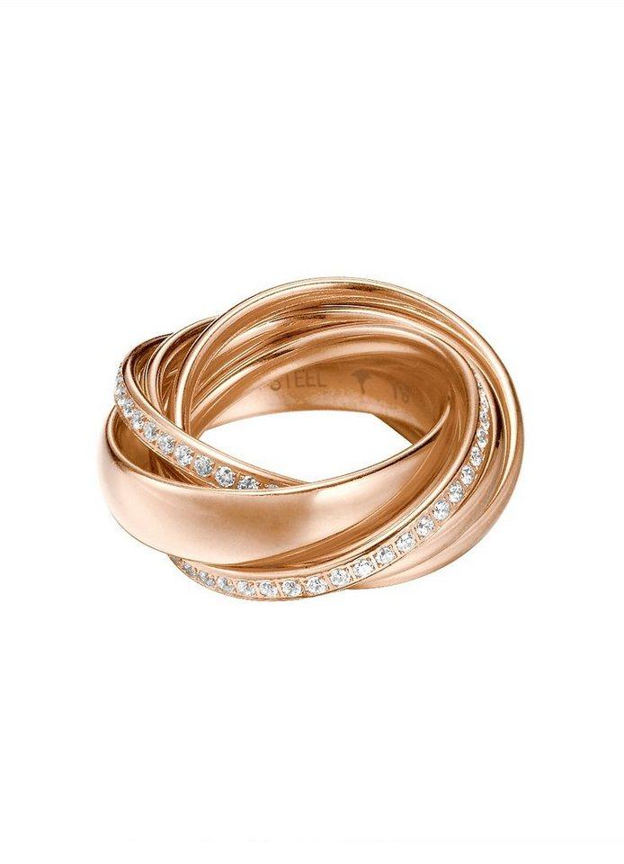 JOOP! Ring, mit Glasstein, »JP-EMBRACE, JPRG10631C« in roségoldfarben