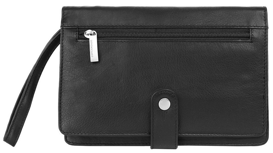 BODENSCHATZ Leder Handgelenk Tasche in schwarz