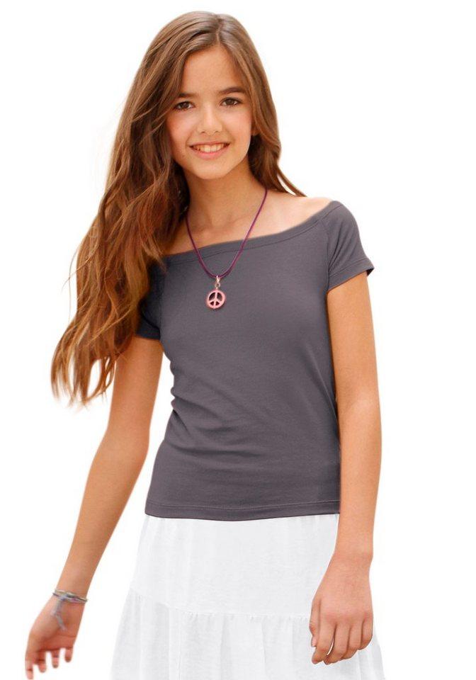 Arizona T-Shirt schulterfrei, für Mädchen in Anthrazit