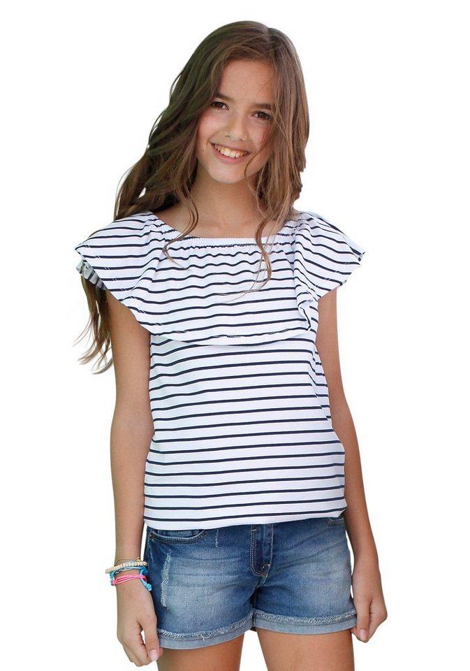 Arizona Carmenshirt mit Gummizug und Volant am Ausschnitt in gestreift-weiß-blau