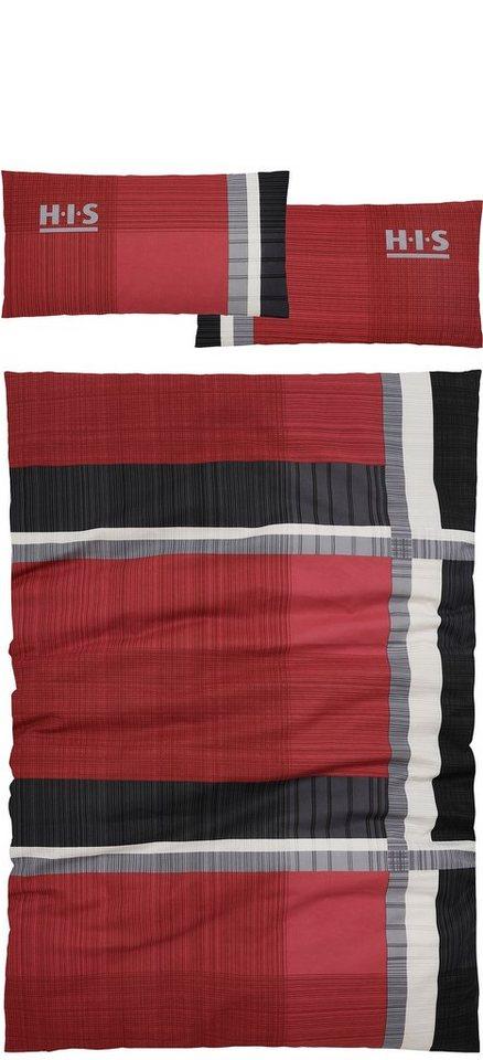 Bettwäsche, H.I.S, »Linus«, mit feinem Linienmuster in rot