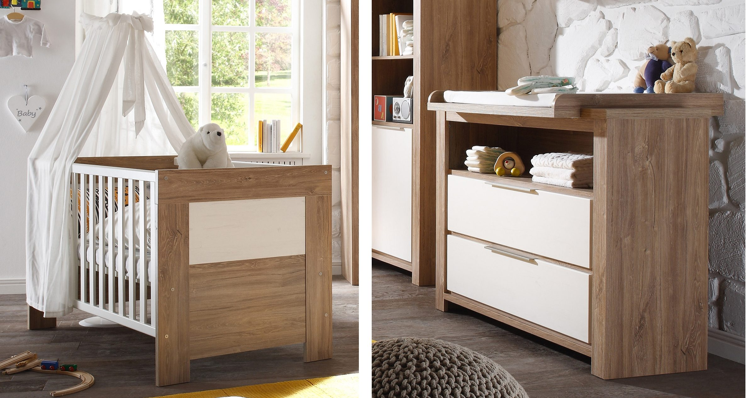 Spar-Set: Babybett und Wickelkommode »Granny«, in stirling oak/ anderson pine