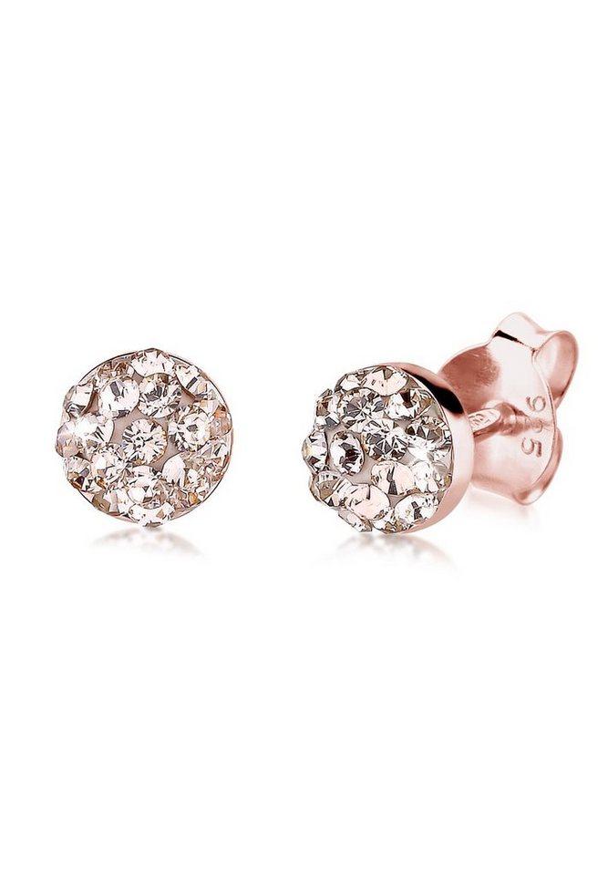 Elli Ohrringe »Basic Swarovski® Kristalle Filigran rosé vergoldet« in Rosa