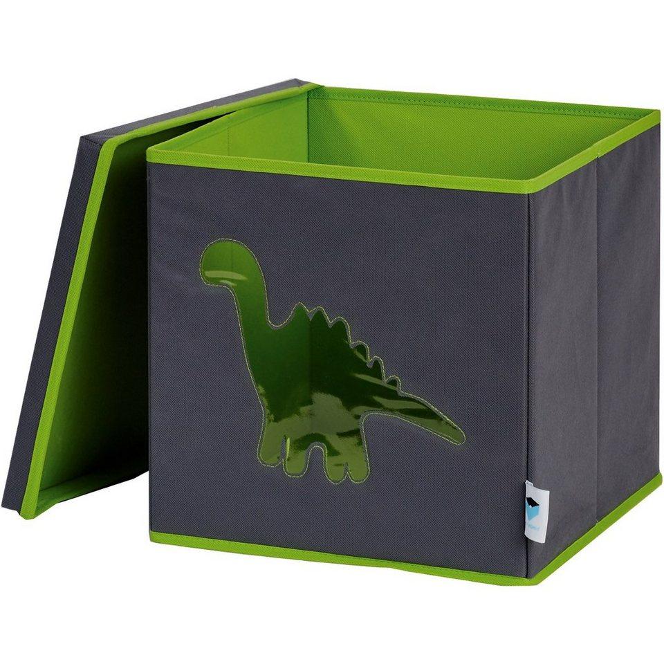 Aufbewahrungsbox Dino, grün in grau