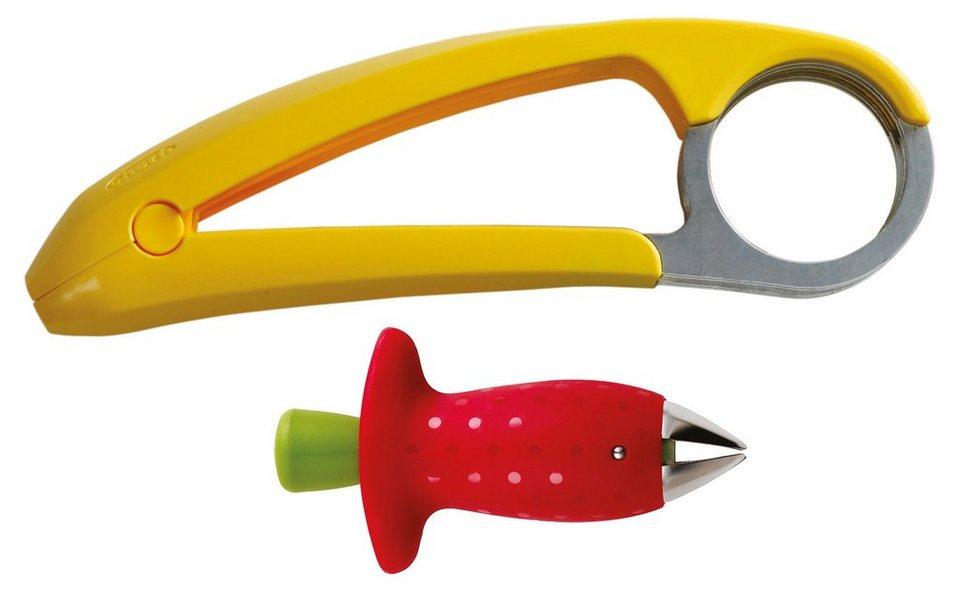 chef´n Set, Bananenschneider »Bananza« und Erdbeerstrunkentferner »StemGem« in gelb, rot, grün