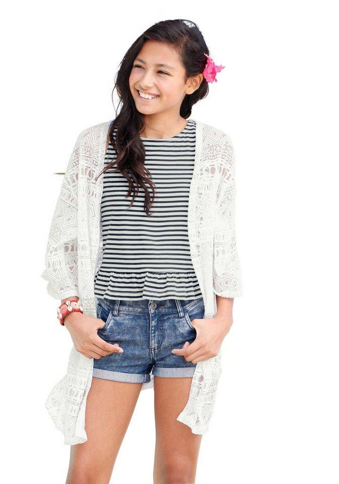 Arizona Shirtjacke mit trendigem Ausbrenner-Effekt, für Mädchen in offwhite