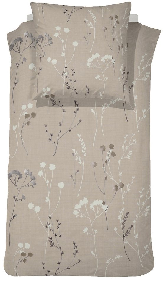 Bettwäsche, Cinderella, »Patula«, mit Gräsern und Blumen in braun