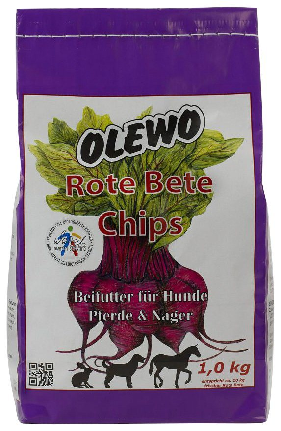 Set: Hundesnack »Rote Bete Chips«, 2 Beutel á 1 kg in rot