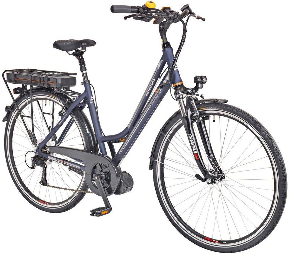 Prophete E-Bike Trekking Damen »Navigator 6.5«, 28 Zoll, 8 Gang, Mittelmotor, 468 Wh in blau