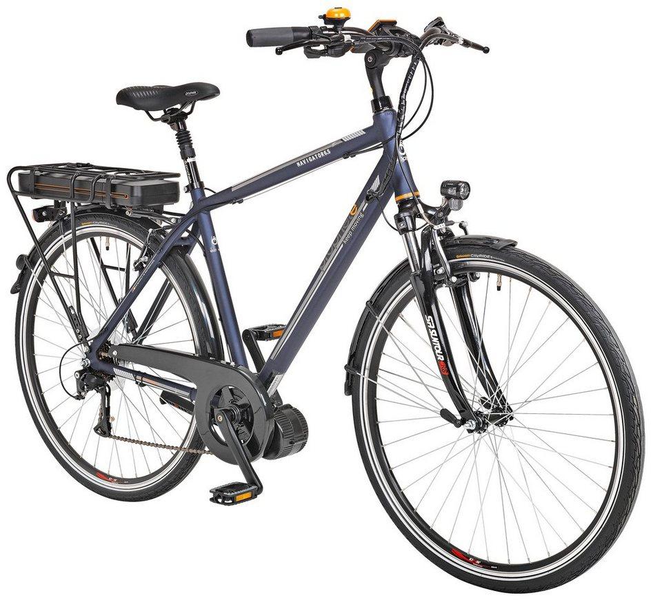 E-Bike Trekking Herren »Navigator 6.5«, 28 Zoll, 8 Gang, Mittelmotor, 468 Wh in blau