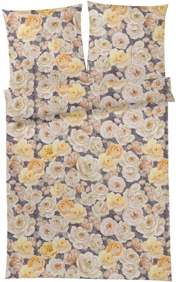 Bettwäsche, Elegante, »Adriana«, mit Rosenblüten in gelb