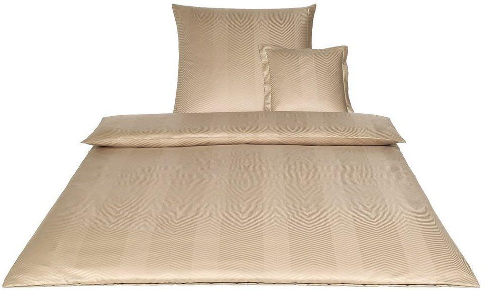 Bettwäsche, Elegante, »Canova«, mit dezenten Zickzack-Linien in camel