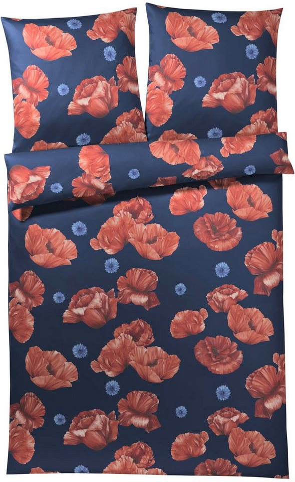 Bettwäsche, Elegante, »Eldorado«, mit Mohnblüten in marine