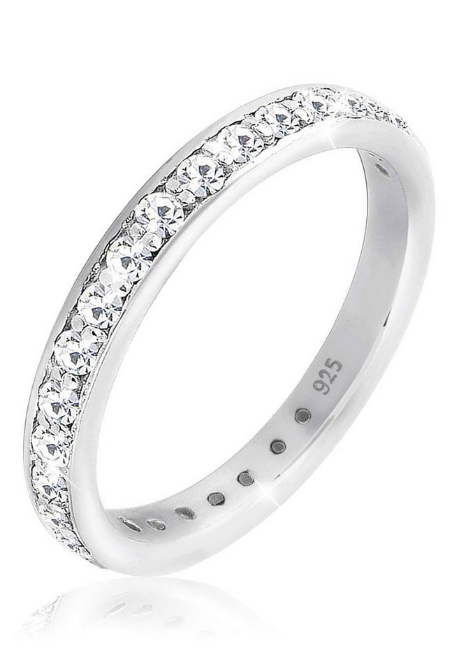 Elli Ring »Bandring Swarovski Kristall Silber« in Weiß