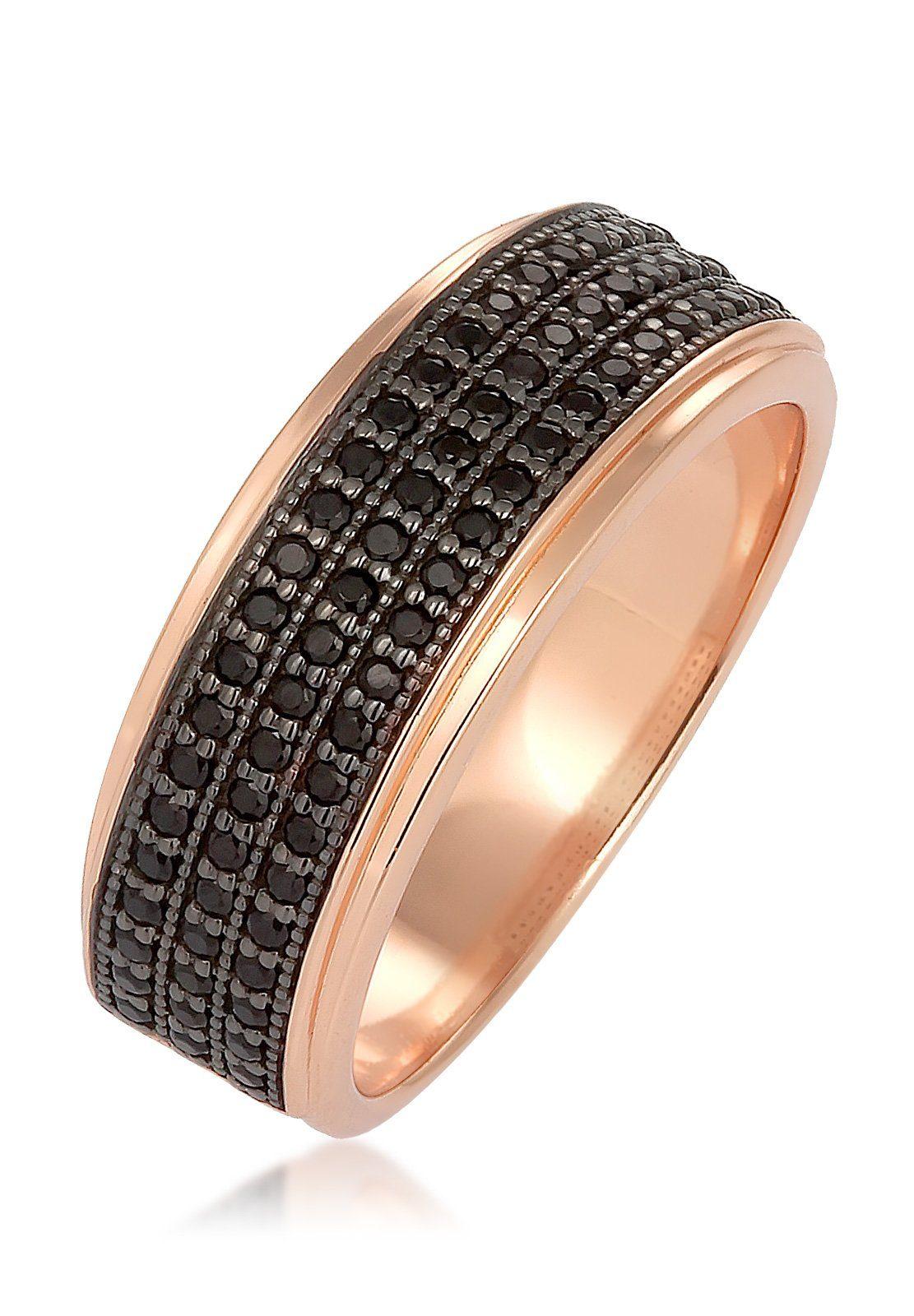 Elli Ring »Bandring Zirkonia Elegant Silber rosé vergoldet«