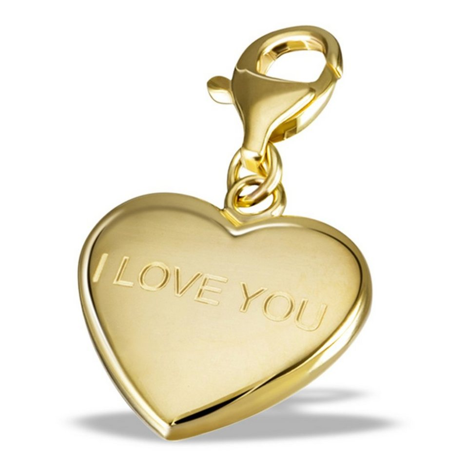 goldmaid Charm Gelb gold 333 Herz I Love you in goldfarben