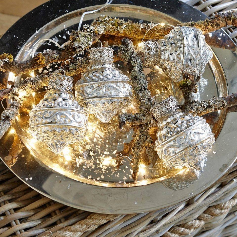Loberon Weihnachtsschmuck 4er-Packung »Murette« in antiksilber